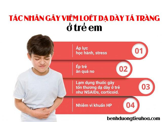 Nguyên nhân gây viêm loét dạ dày tá tràng ở trẻ em