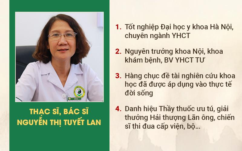 Thạc sĩ, bác sĩ Nguyễn Thị Tuyết Lan – Nguyên Trưởng khoa khám bệnh BV Y học cổ truyền TW.