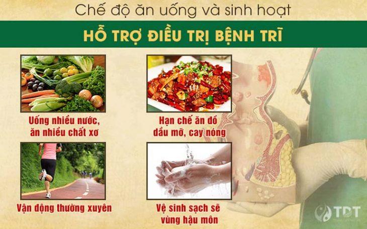 Một chế độ ăn uống sinh hoạt hợp lý sẽ giúp ích rất nhiều trong việc phòng ngừa bệnh trĩ tái phát
