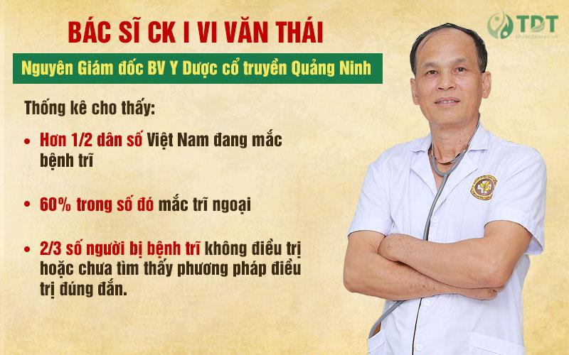 Bác sĩ Vi Văn Thái cho biết về số người mắc trĩ ở Việt Nam