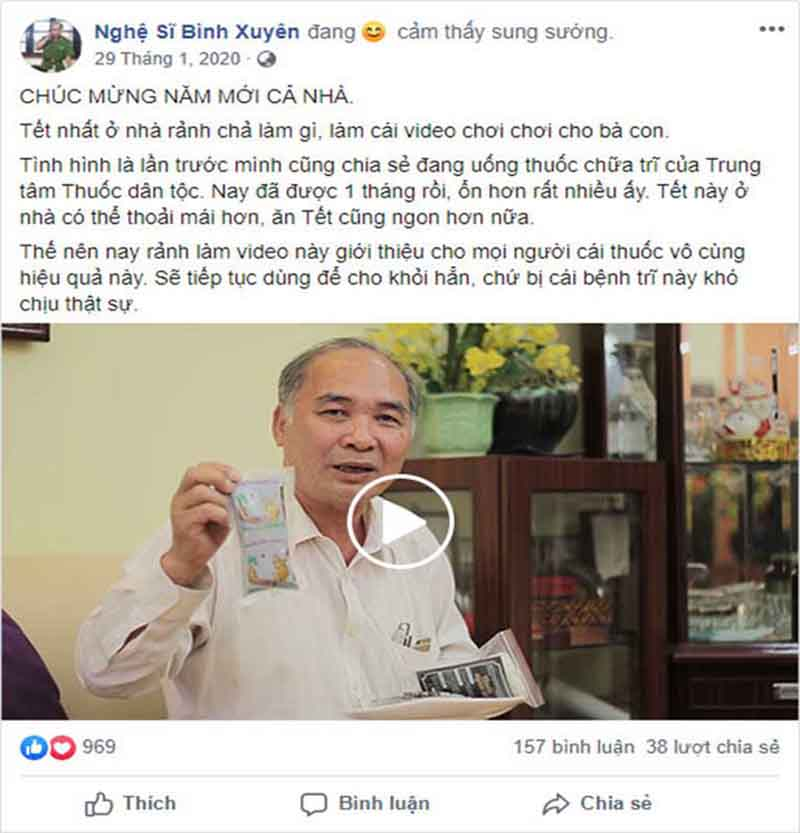 Nghệ sĩ Bình Xuyên chia sẻ hiệu quả tích cực sau 1 tháng dùng Thăng trĩ Dưỡng huyết thang