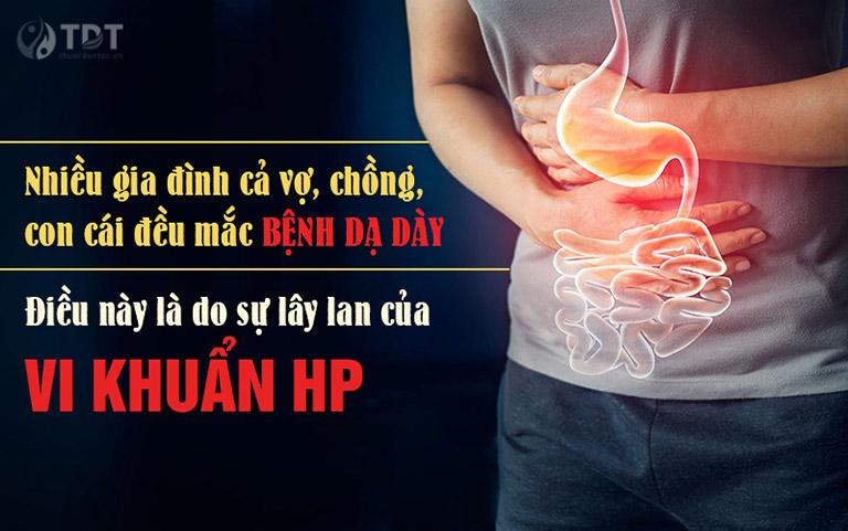 Nhiều gia đình cùng bị bệnh dạ dày do lây nhiễm HP trong quá trình sinh hoạt