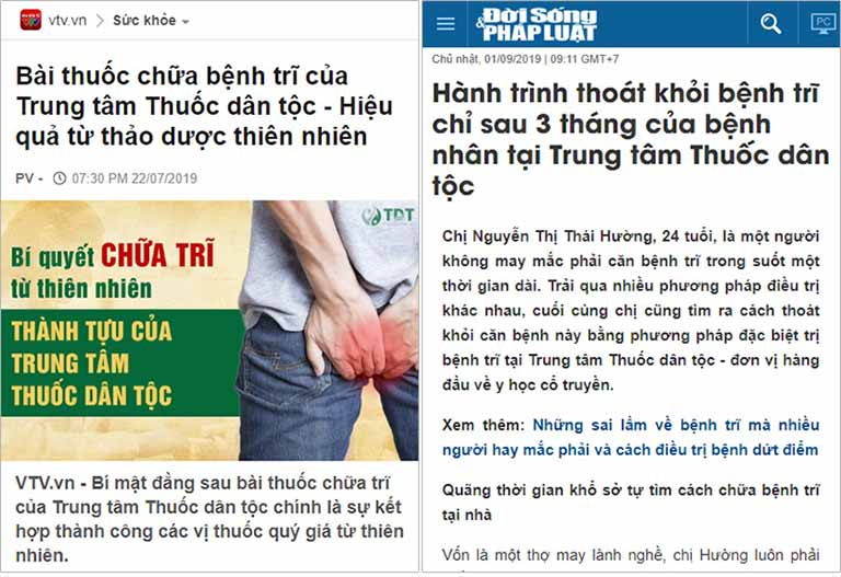 Báo chí nói về hiệu quả chữa trĩ tại Thuốc dân tộc